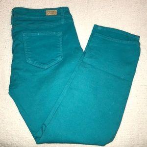 Paige's Roxie Capri Turquoise jeans
